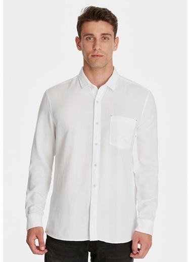Mavi Tek Cepli Gömlek Beyaz